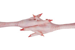 Crossed each other pink chicken feet with claws stock photos