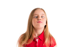Crossed eyes blond girl funny expression gesture Stock Image