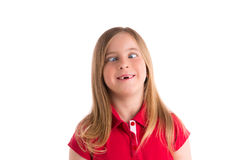 Crossed eyes blond girl funny expression gesture Stock Photo