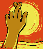 Crossed finger  gesture of good luck Stock Image