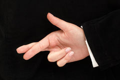Crossed fingers Royalty Free Stock Photography
