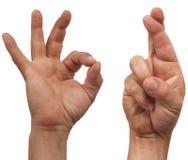 crossed fingers ok Стоковая Фотография RF