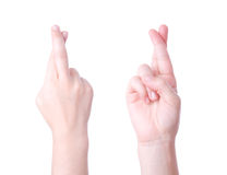 Crossed fingers sign Royalty Free Stock Photo