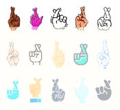 Crossed fingers vector fingered sign of human hand and symbol of luck or lie illustration fingering set isolated on. White background Stock Images