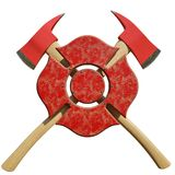 Crossed Firefighter Axes behind Firefighting Symbol. Crossed fire axes behind firefighting symbol isolated on a white background. 3D illustration Royalty Free Stock Photography