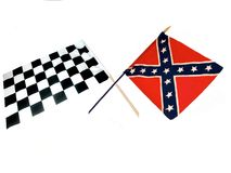 Crossed Flags. Crossed checkered raceing flag and Rebel flag ,over white Royalty Free Stock Photos