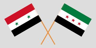 Crossed flags of Syrian Arab Republic and Syrian National Coalition. Official colors. Correct proportion. Vector. Illustration stock illustration