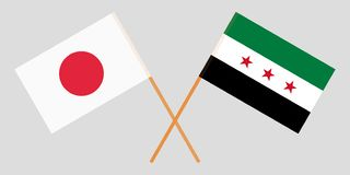 Crossed flags of Syrian National Coalition and Japan. Official colors. Correct proportion. Vector. Illustration vector illustration