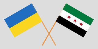 Crossed flags of Syrian National Coalition and Ukraine. Official colors. Correct proportion. Vector. Illustration stock illustration