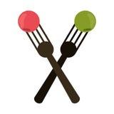 Crossed fork with fruit tasty. Vector illustration eps 10 vector illustration