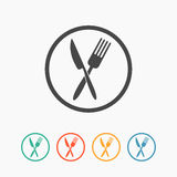 Crossed fork and knife icon Stock Image