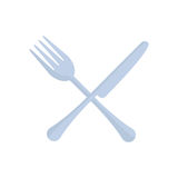 crossed fork and knife utensil kitchen Stock Photos