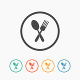 Crossed fork and spoon icon Stock Images