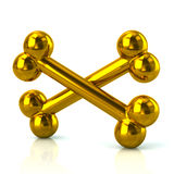 Crossed golden bones Royalty Free Stock Images