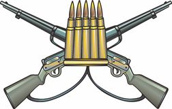 Crossed guns and Ammo. Two guns crossed with ammo isolated vector illustration