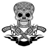 Crossed Guns With Ornaments  Ribbon And  Skull Royalty Free Stock Photo