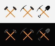 Crossed hammer and shovel. Crossed hammer, shovel and pickaxe, symbol of work and labor, miner, vector illustration on white and black background Stock Images