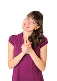 She crossed her arms in the happy Royalty Free Stock Photos