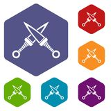 Crossed japanese daggers icons set hexagon Royalty Free Stock Photography