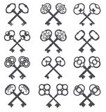 Crossed keys, key icon. Set silhouettes of old keys Royalty Free Stock Photos