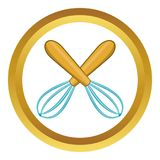 Crossed kitchen whisks icon. In golden circle, cartoon style isolated on white background vector illustration