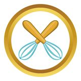 Crossed kitchen whisks vector icon. In golden circle, cartoon style isolated on white background vector illustration