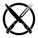 Crossed knife and fork. Illustrated black white symbol of crossed knife and fork royalty free illustration