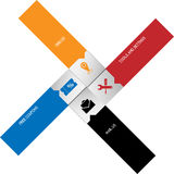 Crossed Labels. Colorful cross.Red orange blue and black rectangles Stock Photography
