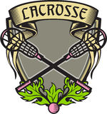 Crossed Lacrosse Stick Coat of Arms Crest Woodcut Stock Images