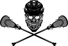 Lacrosse Skull. Crossed Lacrosse Stick and Skull and Helmet insignia Stock Photo