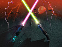 Crossed laser swords Stock Photography