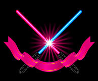 Crossed light sabers Stock Image