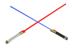 Crossed light sabers Stock Images