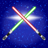 Crossed light sabers. Stock Photos