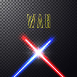 Crossed light swords. Realistic bright blue, red laser halogen beams. Crossed light swords on  transparent black background. Weapon futuristic from star war Royalty Free Stock Photos