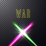 Crossed light swords. Realistic bright colorful laser neon beams. Crossed light swords on  transparent black background. Weapon futuristic from star war. Vector Stock Photo
