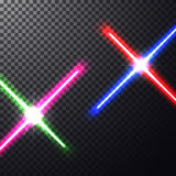 Crossed light swords. Realistic bright  laser halogen beams. Crossed light swords on  transparent background. Weapon futuristic from star war. Vector Stock Photography