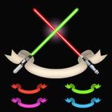 Crossed light swords vector Royalty Free Stock Photo