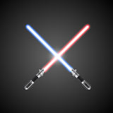 Crossed lightsabers. Vector illustration. Royalty Free Stock Image