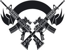Free Crossed M16 Assault Rifles Over Banner Royalty Free Stock Photo - 161525115
