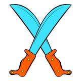 Crossed machetes icon cartoon Stock Photo