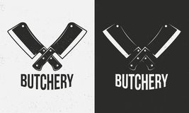 Butcher shop logo. Crossed meat cleavers on a white and black background. Grunge texture. Vector illustration stock illustration