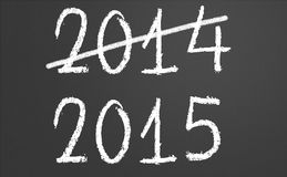 2014 crossed and new year 2015 on chalkboard. 2014 crossed and new year 2015 written on chalkboard Stock Photography