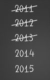 2011, 2012, 2013 crossed and new years 2014, 2015. On chalkboard vector illustration