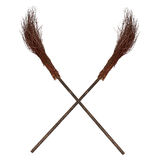 Crossed old wicked brooms isolated Royalty Free Stock Photography