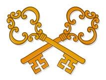 Crossed ornate gold keys Royalty Free Stock Photos