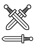 Crossed pair of swords over single blade Stock Photography