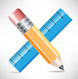 Crossed pencil and ruler Royalty Free Stock Image