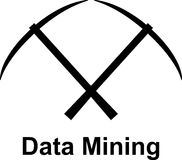 Crossed pickaxes above Data Mining. Two crossed pickaxes above the word Data Mining Stock Image