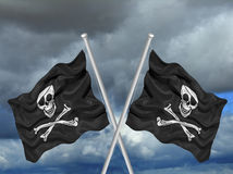 Crossed Pirate Flags Stock Image